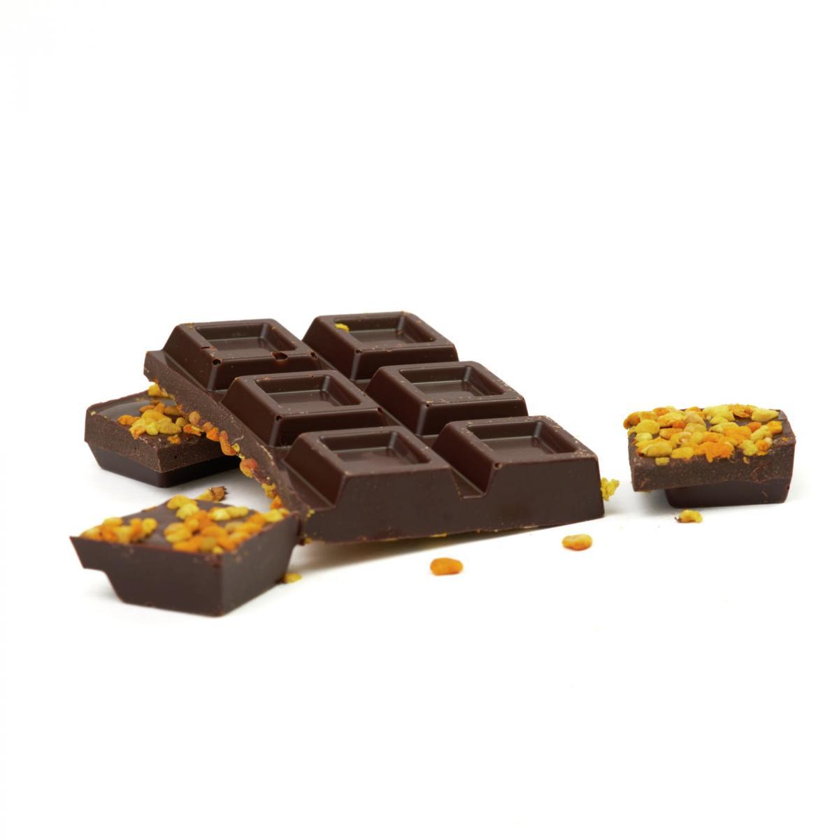 Tavoletta al cioccolato fondente e polline