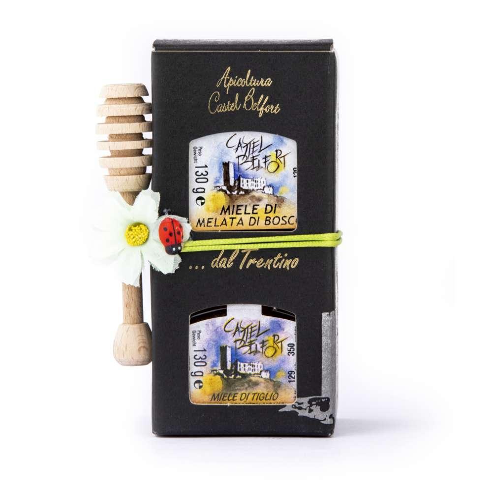 Scatola in cartoncino da 2 vasi di miele da 130g