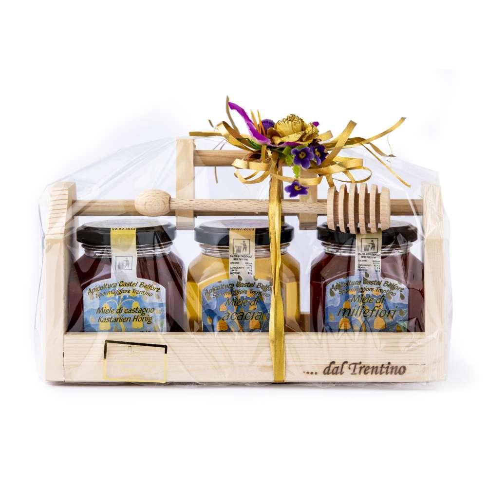 Confezione da 3 vasi di miele da 250g con base in legno